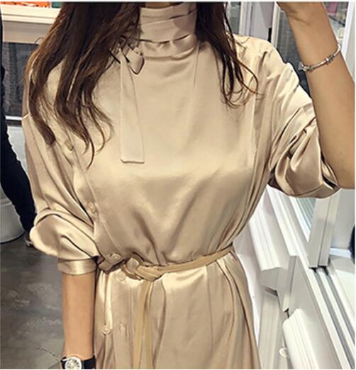跨境女装新款韩版OL气质立领长袖收腰时尚不规则中长款衬衣连衣裙